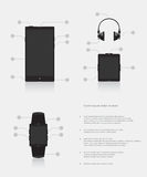 Set of gadgets electronic devices mobile phone smart watch music player Stock Photography
