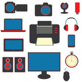 Set of gadgets. Nice set of modern gadgets flat icons Stock Images