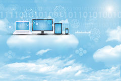 Set of gadgets on sky background Royalty Free Stock Images