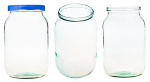Set of Gallon glass jar isolated on white Royalty Free Stock Photos