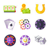 Set of Gambling Accessories Vector Illustrations. Royalty Free Stock Image
