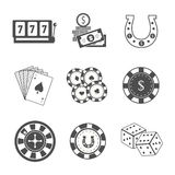 Set of Gambling Accessories Vector Illustrations. Royalty Free Stock Images