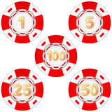 Set of gambling chips rated Royalty Free Stock Photo