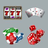 Set of gambling icons for Casino game with Slot machine, Cards, Dices, and Chips. HiRes, Vector EPS10 file. 100% Layered and editable. Good for all sizes Vector Illustration