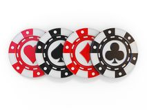Set of gambling poker chips, with spade, heart diamond and club Royalty Free Stock Photography