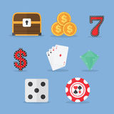 Set of Gambling & Slot Machine Icons Royalty Free Stock Photos