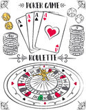 Set of gambling symbols, roulette, ace, dice, chips, vector Stock Photos