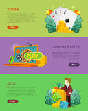 Set of Gambling Vector Banners In Flat Design Royalty Free Stock Photo