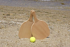 Set for a game of beach tennis Stock Photos
