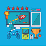 Set of  game concept design flat line. Illustration Royalty Free Stock Images