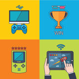 Set of  game concept design flat line. Illustration Stock Photography