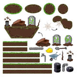 Set of game elements. Platforms and objects stock photography