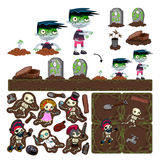 Set of game elements with zombie character. Set of game elements with zombie character, platforms and objects. Vector isolated items Stock Images