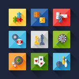 Set of game icons in flat design style Stock Image