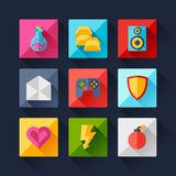 Set of game icons in flat design style Stock Photography