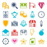 Set of game icons in flat design style Royalty Free Stock Images