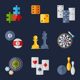 Set of game icons in flat design style Royalty Free Stock Photography