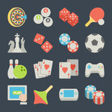 Set of game icons in flat design style Royalty Free Stock Photos