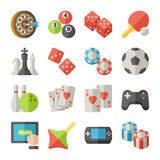 Set of game icons in flat design style Stock Photo