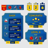 Set of game ui interface screens in sewing stile. Level completed, shop, coosing and target screens. Scissors, pin, needles, thread and button. Pokets with Royalty Free Stock Photo