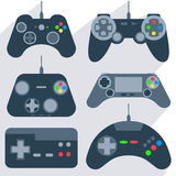 Set gamepad icons. Set of various gamepads, joysticks of different generations, with bright buttons into flat style. Vector Illustration Royalty Free Stock Image
