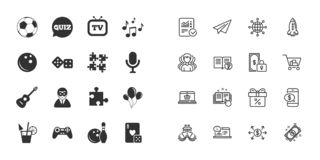 Set of Games, Entertainment and Services icons. Vector. Set of Games, Entertainment and Services icons. Football, Bowling and Puzzle signs. Casino, Carnival and vector illustration