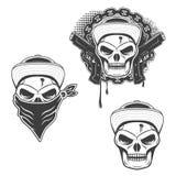 Set of  gangsta skulls  on white background. Design elem. Ent for t-shirt print, poster, sticker. Vector illustration Royalty Free Stock Photos