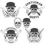 Set of  gangsta skulls  on white background. Design elem. Ent for t-shirt print, poster, sticker. Vector illustration Royalty Free Stock Images