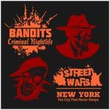 Set of gangster and bandits emblems, labels, badges, logos. Stock Image