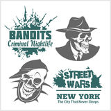 Set of gangster and bandits emblems, labels, badges, logos. Stock Photos