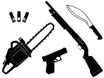 Set of gangster criminal weapons Royalty Free Stock Image