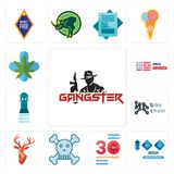 Set of gangster, 100 year anniversary, 30 skull and crossbones, stag head, bike chain, girls bathroom, made in america, medical ma. Set Of 13 simple  icons such Royalty Free Stock Photography
