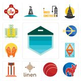 Set of garage door, french bulldog, cricket ball, linen, legal, ap, prayer hands, sagittarius, paddy icons. Set Of 13 simple editable icons such as garage door Royalty Free Stock Image