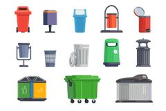 Set of garbage cans for home and street. Isolated on white background. Vector illustration Royalty Free Stock Photo