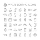 Set of garbage separation recycling related waste sorting outline icons vector. Stock Photo