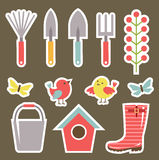 Set of garden elements for the scrapbook Royalty Free Stock Images