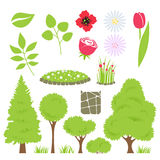 Set of garden elements - trees and flowers. Stock Images