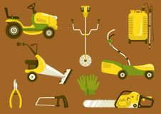 Lawn mowers vector icon set. Set of garden equipment for grass mowing. Color vector icons illustration. Lawn mower and other agricultural and farm machinery Royalty Free Stock Photo
