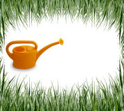 Set of garden grass, hand, watering-can Royalty Free Stock Image