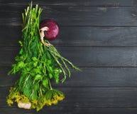 Set garden herbs for pickling stock photos