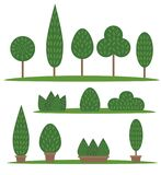 Garden and park set. Cartoon trees and bushes stock illustration