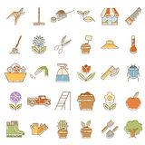 Set of garden plant icons with colours Stock Photography
