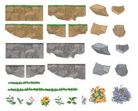 Set of garden plants, flowers and stones for