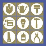 Set of garden and repairs tools icons. vector illustration