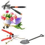 Set of garden tools isolated on white background. Collage. Free Royalty Free Stock Image