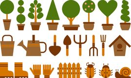 Set of garden icons. Set of garden tools and topiary in terracotta pots Stock Photo
