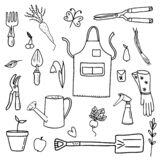 Set of garden tools, vegetables, fruits on a white background.