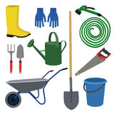 Set for the garden. Set of  garden  workers tools and accessories Stock Photos