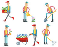 Set of gardener figures working. Isolated on white. Raster clip art. Set of gardener figures working. Raster clip art Stock Photography