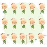Set of gardener women flat icons Royalty Free Stock Images